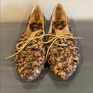 Brown Floral Loafers
